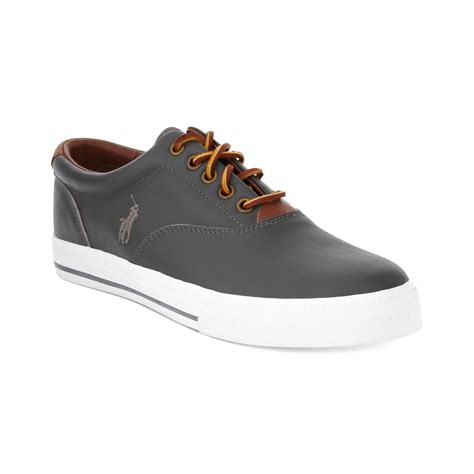 polo ralph vaughn sneakers polo ralph vaughn leather sneakers in gray for