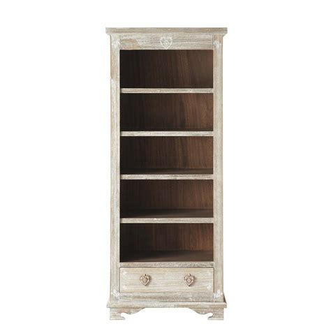 whitewashed paulownia wood bookcase w 75cm camille
