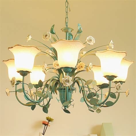mediterranean dining room glass chandelier blue painted