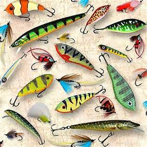 Fishing Quilt Fabric by 1 2 Yard Country Fish Lure Quilt Fabric