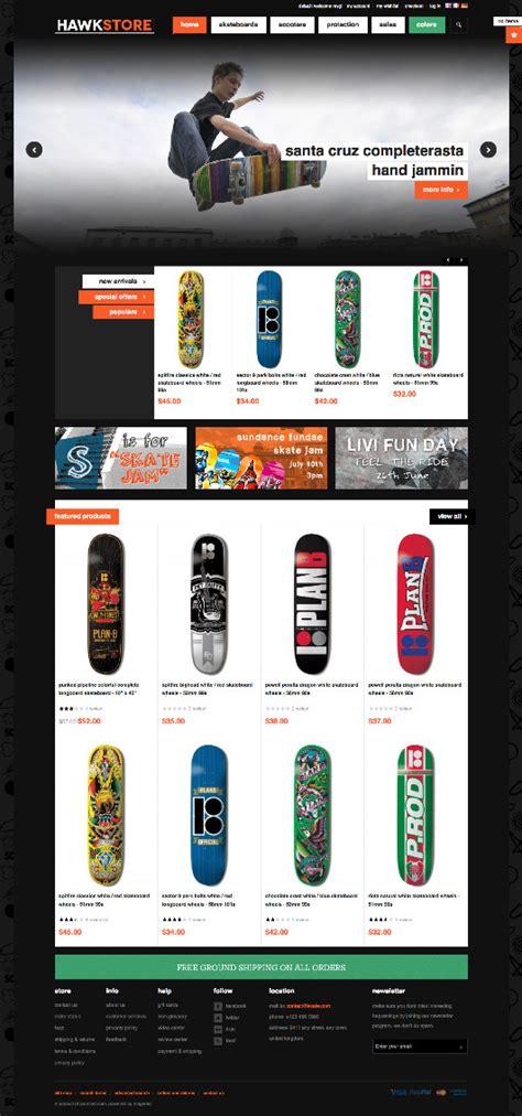 jm hawkstore magento skateboard store theme