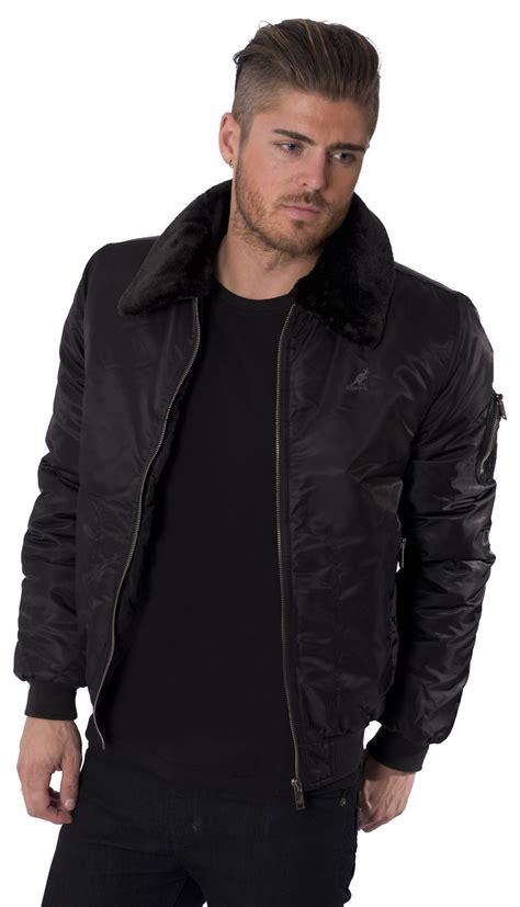 Blazer Casual Black Zipper kangol mens jacket coat black faux fur collar bomber zip through casual s xl