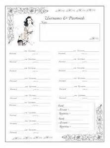 free username and password journal pages printables