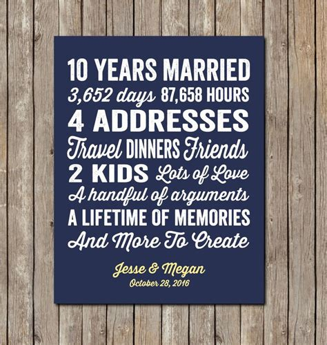 10 Year Wedding Anniversary Gift Ideas For - 10 year wedding anniversary gift