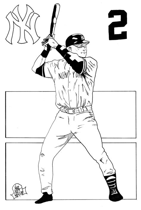 derek jeter by 7daywalk on deviantart derek jeter coloring
