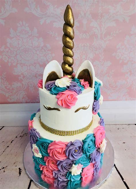 tier unicorn rosette pink purple white gold cake cherry  top delights   cake