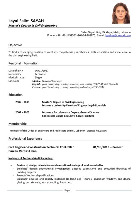 Resume Masters Degree