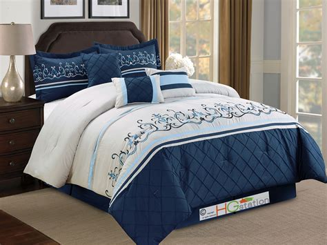 light blue queen comforter set 7 pc floral damask embroidery diamond comforter set queen