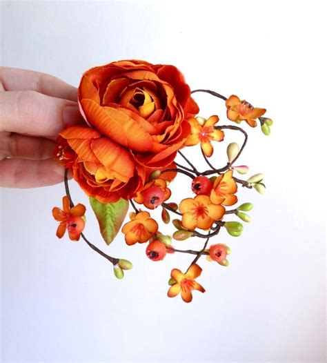 wedding hair accessories orange fall hair accessories fall wedding hair clip autumn