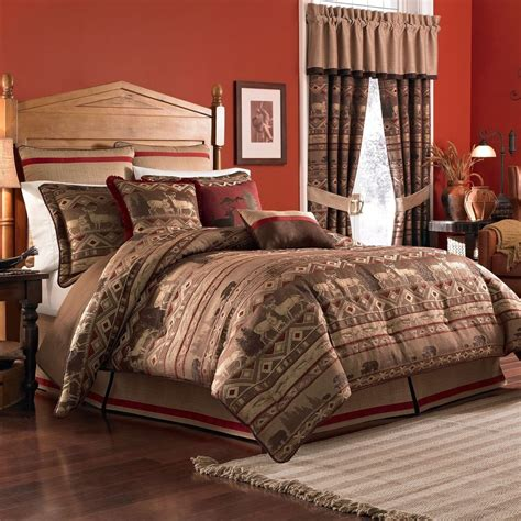 queen comforter set croscill deer bear lodge pondera queen comforter 4 pc set