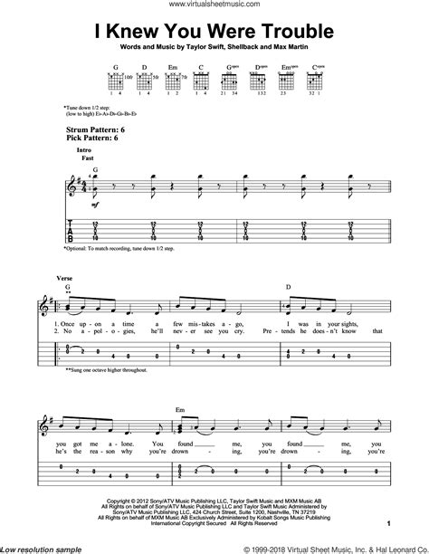 taylor swift i knew you were trouble music video mtv swift i knew you were trouble sheet music for guitar