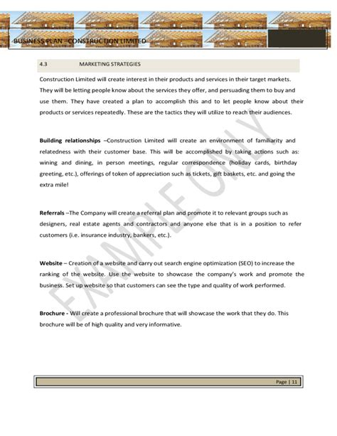 construction business plan template free strategic business plan template for construction free