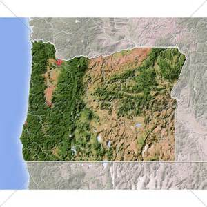 oregon shaded relief map 183 gl stock images