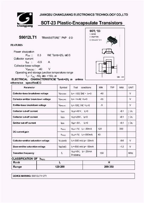 transistor bjt pdf s9012 277563 pdf datasheet ic on line
