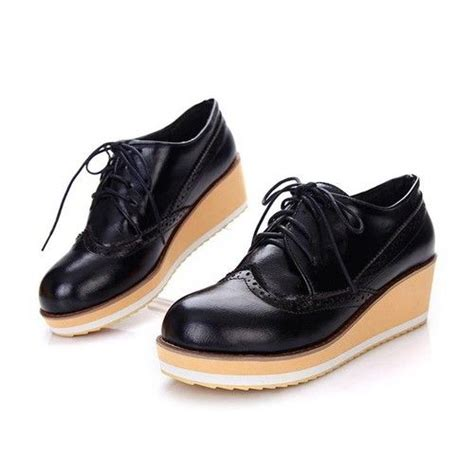womens oxford wedge shoes womens retro wedge heels platform brogues oxford lace up