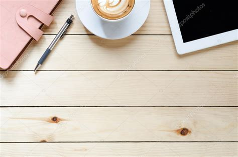 office desk table tops office desk table top view with copy space stock photo