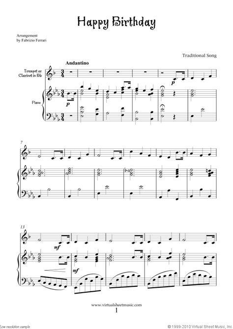 printable sheet music happy birthday free happy birthday sheet music for trumpet or clarinet