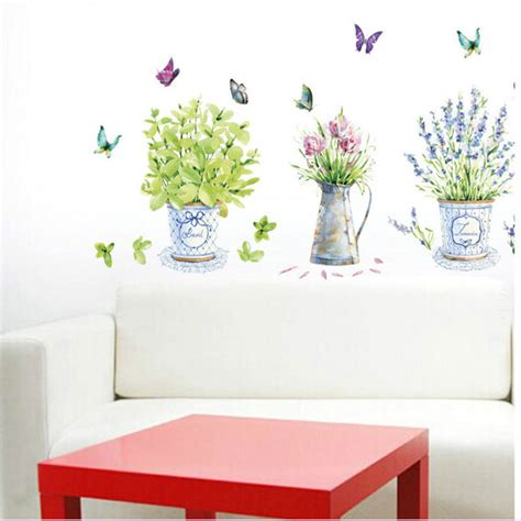 aliexpress wall stickers diy wall stickers home decor potted flower pot butterfly