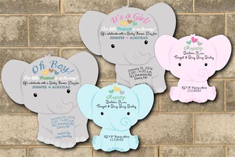 Baby Shower Boy Elephant Theme by 30 Elephant Baby Shower Invitations Theme Cards Die Cut Boy Baby Shower Ebay