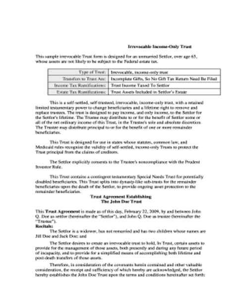 Irrevocable Living Trust Agreement Forms And Templates Fillable Printable Sles For Pdf California Revocable Trust Template