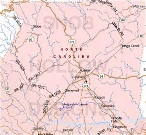 caldwell county map caldwell county carolina color map