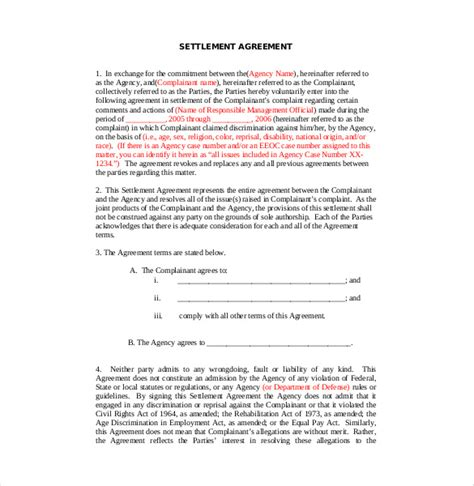 Letter Of Settlement Agreement Sle Settlement Agreement Template 13 Free Word Pdf Document Free Premium Templates