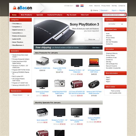 aBagon Free Zen Cart Theme, Theme for Zen Cart