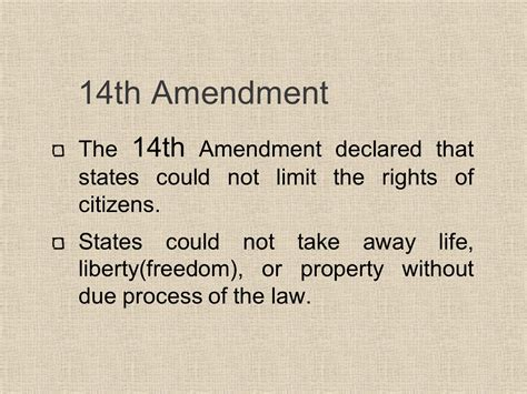 Due Process Of Beyond The State the 13th 14th and 15th amendments ppt