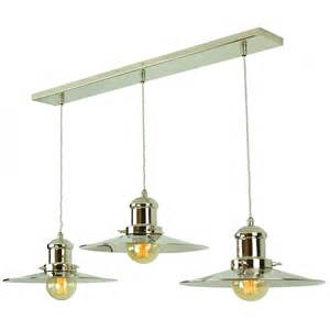 Edison Bulb Island Light Bar Ceiling Light With 3 Hanging Fisherman Pendants In Nickel