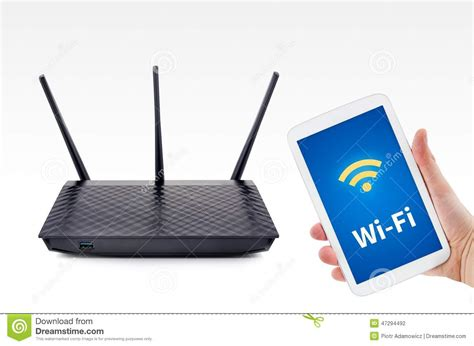 mobile wifi connection wireless router and tablet wifi connection stock photo