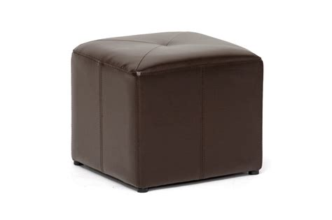 small leather ottoman cube aric brown leather small inexpensive cube ottoman