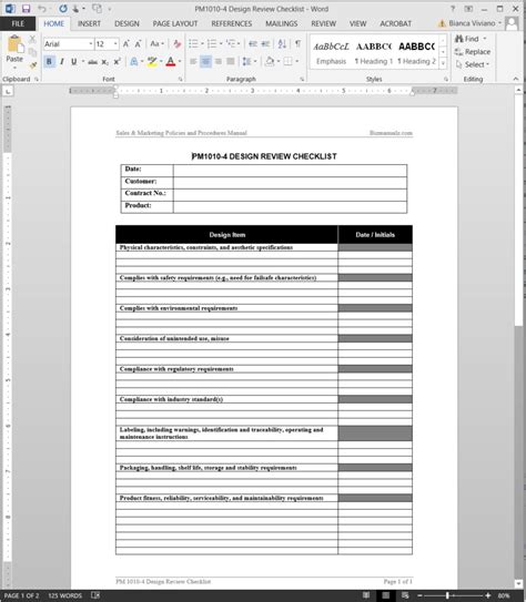 program review template product design review checklist template