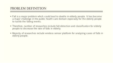 pattern classification definition fall detection system for the elderly based on the