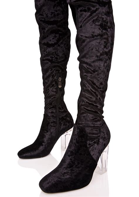 black velvet lucite thigh high boots dolls kill