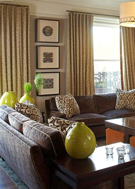 taupe brown lime green brown  green living room