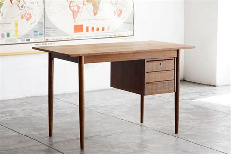 Danish Modern Wood Desk With Floating Drawers Rehab Modern Wood Desk
