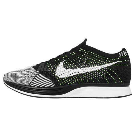 nike sneakers mens nike flyknit racer black white volt mens running shoes