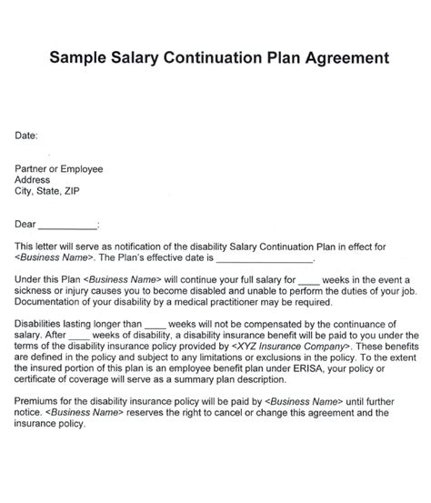 Salary Agreement Letter Format Disability Insurance Mccarthy Stevenot Agency Inc