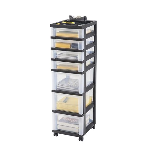rolling storage with drawers hdx 27 gal storage tote in black hdx27gonline 5 the