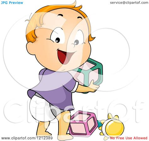 cartoon of a happy toddler boy looking back and playing