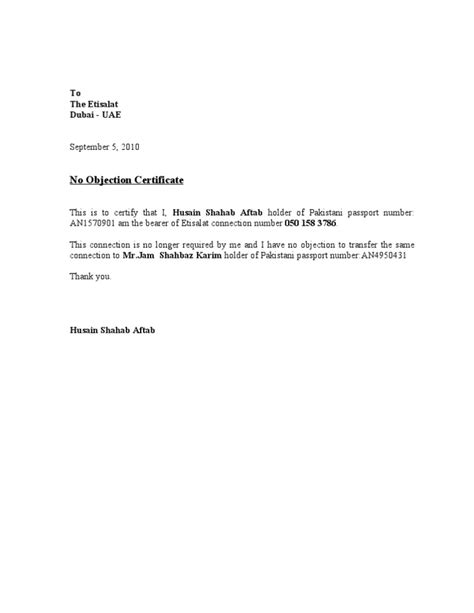 best solutions of noc sample letter format with sample no