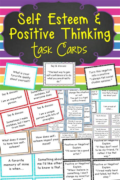 Task Cards Template For Affirmations by Self Esteem And Positive Thinking Task Cards Thinking