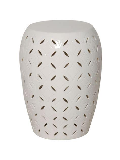 White Ceramic Garden Stool by Small White Glaze Lattice Ceramic Garden Stool