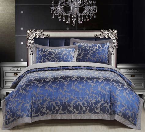 Blue Bedding Sets Luxury 2015 Luxury Western Bedding Set Silk Cotton King Blue Embroidered Duvet Quilt Cover Bed