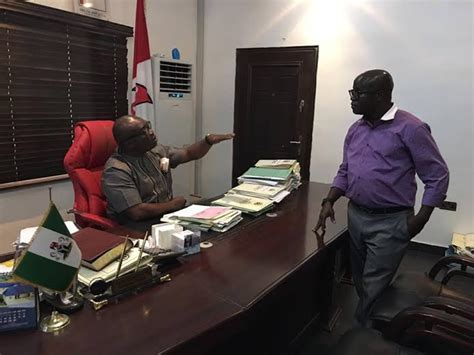 I Resumed Office Today by M O D Abia State Ikpeazu Pictured In His Office Today