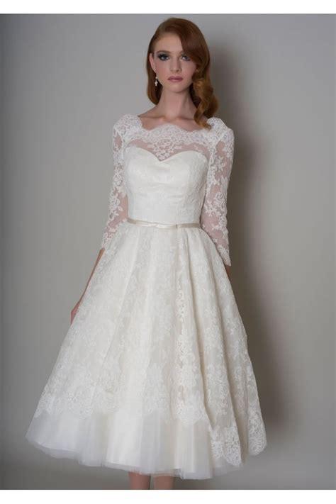 vintage tea length wedding dress louou bridal delilah lace tea length 1950s vintage short