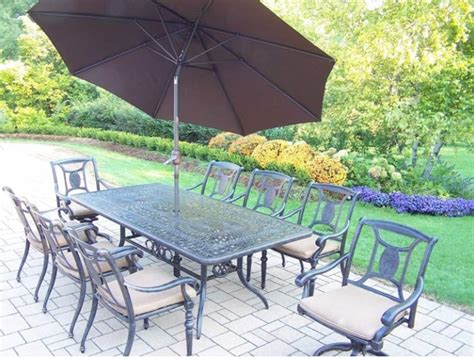 piece black aluminum outdoor furniture patio dining set