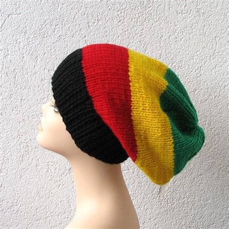 rasta beanie knitting pattern simple slouchy beanie hat in color rasta slouchy hat for