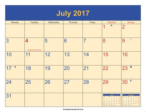 printable calendar july august 2017 july 2017 calendar printable with holidays pdf and jpg