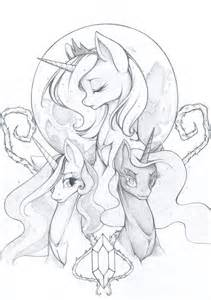 All Connected Sketch Mlp Celestia Luna Nightmare Coloring Page sketch template